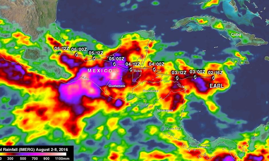 Earl's locations and intensities, as defined by the National Hurricane Center (NHC), are shown overlaid in white. Image: NASA/JAXA/Hal Pierce