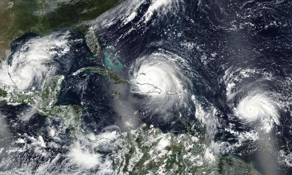 VIIRS image of three hurricanes in the Atlantic on Thursday, September 7, 2017: Cat 1 Katia (left), Cat 5 Irma (center), and Cat 3 Jose (right.) Image: NASA
