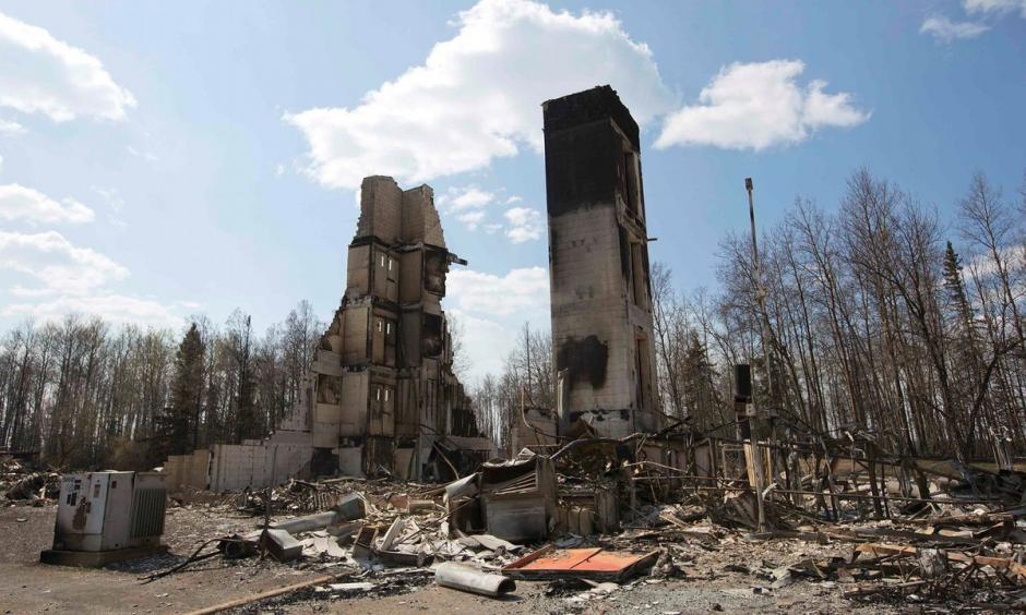 The neighbourhood of Abasand has been ravaged by the wildfire in Fort McMurray, Alberta. Photo: Reuters