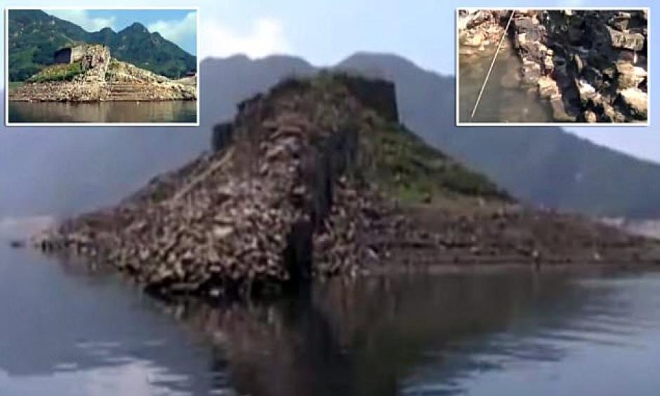 A section of the Great Wall of China that was submerged under a reservoir in 1978 has remerged from under the water. Photo: Daily Mail