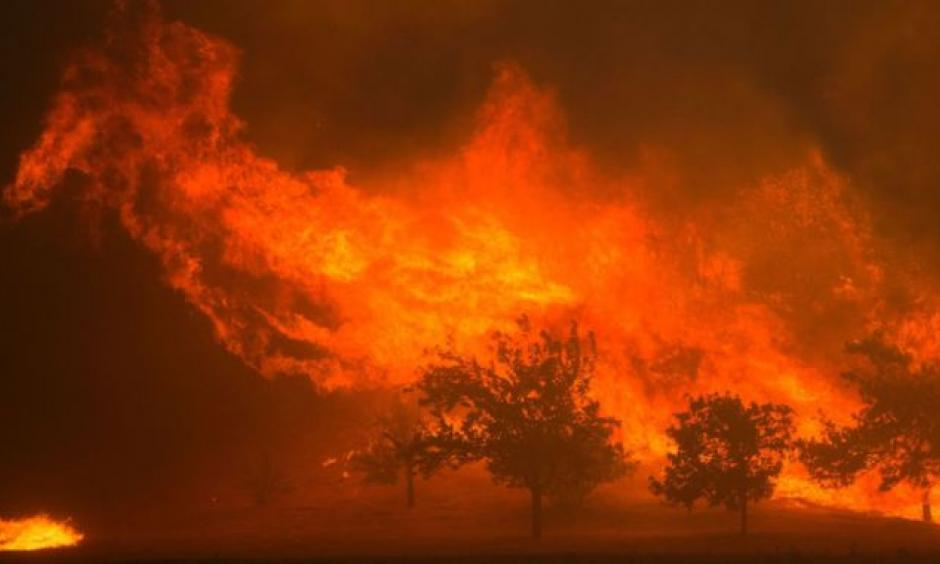 "A wildfire raging out of control in California is consuming houses like a ""freight train"", it has been warned. Photo: KL. FM 96.7"
