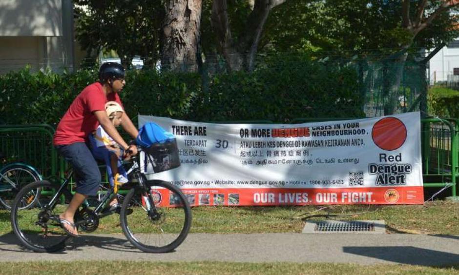 A man cycles past a dengue alert banner. Photo: Singapore Times