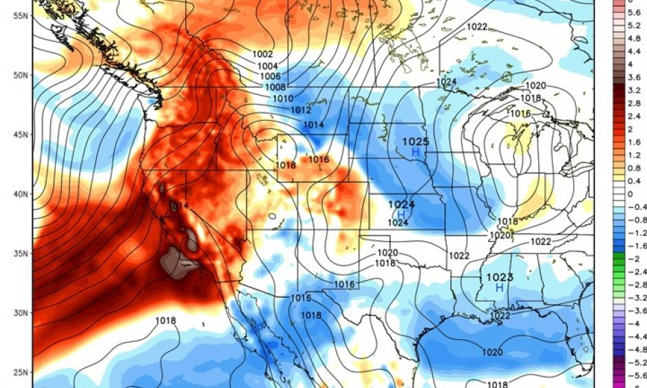 Modeled precipitable water anomalies show the flow of an atmospheric river that will bring rain and snow to California this weekend and early next week. Image: Weatherbell