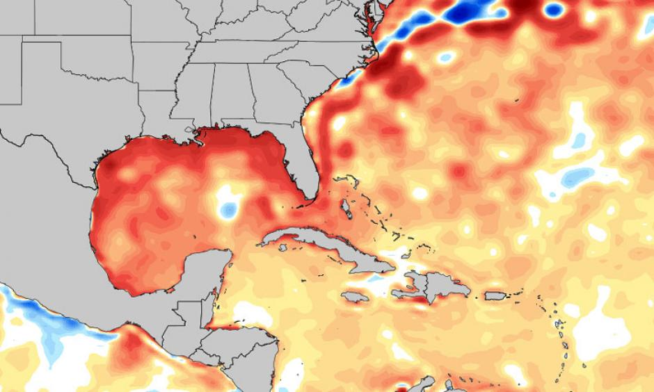 One anomaly factoring into the record warmth this winter (which may have larger ties) is an unusually warm Gulf of Mexico. Sea surface temperature anomalies are 2-5°C above normal. Image: Tropical Tidbits