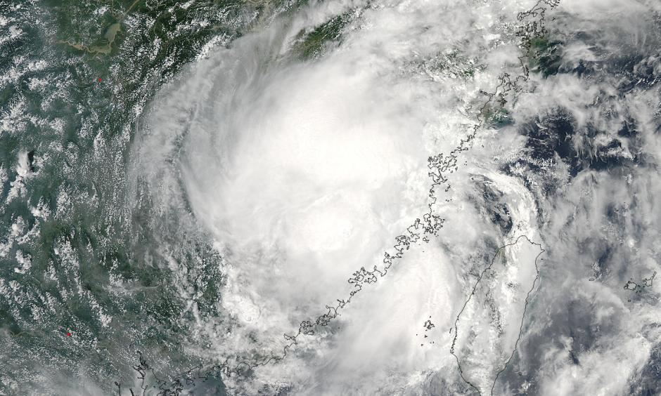 Satellite view of Tropical Storm Nepartak over China on Sunday. Nepartak, which was downgraded from a typhoon as it made landfall over China, killed at least 12 people in Taiwan and China. Photo: NASA Goddard MODIS Rapid Response