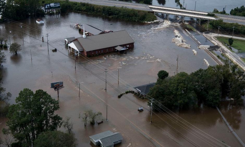 Flooding from Hurricane Florence is seen in Lumberton, N.C., on Sept. 17. Photo: Carolyn Van Houten, Washington Post