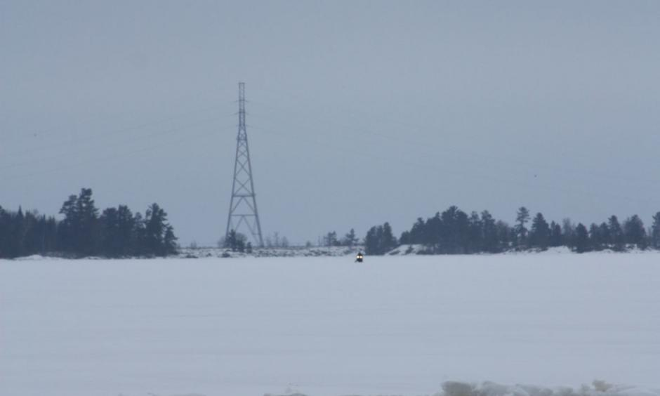 An ice ridge forms on Rainy Lake's Birch Point area Photo: Laurel Beager, International Falls Tribune