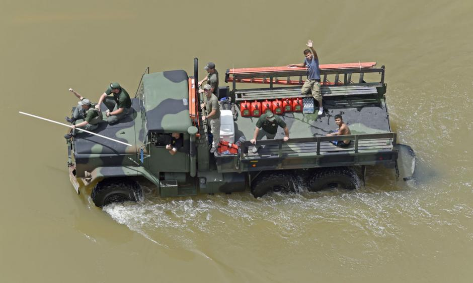 A rescue vehicle goes up Joor Road. Aerials of severe weather flood in East Baton Parish on Monday August 15, 2016. Photo: Bill Feig, Advocate