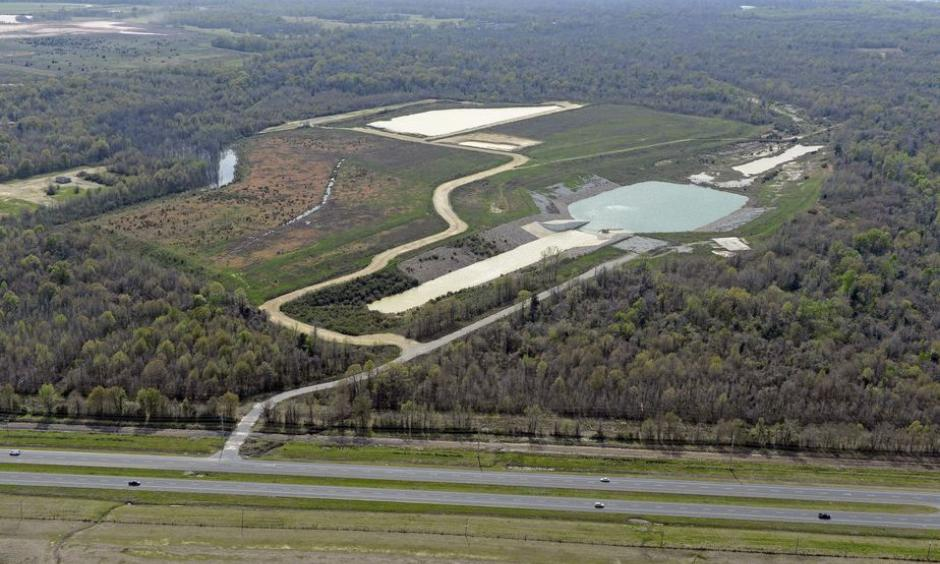 Aerial of the Comite Diversion Canal. Looking west. Mississippi River at top. Photo: Bill Feig