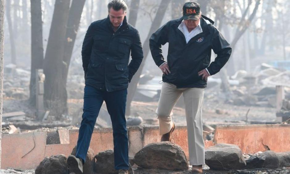 President Donald Trump and then-Lieutenant Gov. Gavin Newsom take a tour through Paradise 10 days after the fire started. Credit: Saul Loeb, Getty Images