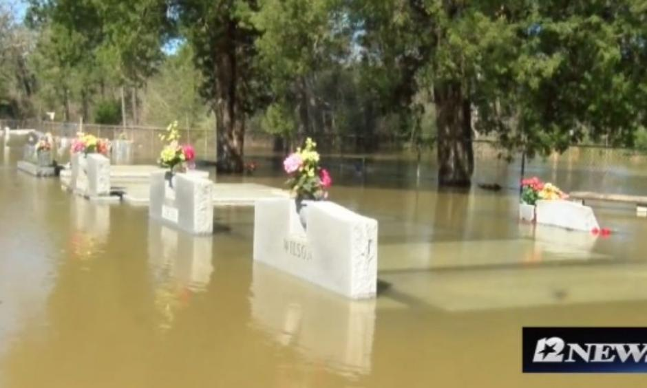 Louisiana's flood waters are causing caskets to float to the surface. Photo from Starks, La., March 15, 2016. Photo: KPLC