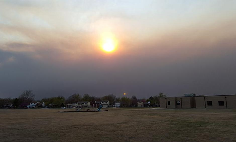 Smoke from wildfires in central Kansas were visible in Wichita, Kansas, on Wednesday, March 24, 2016. Photo: Guy Pearson, AccuWeather.com