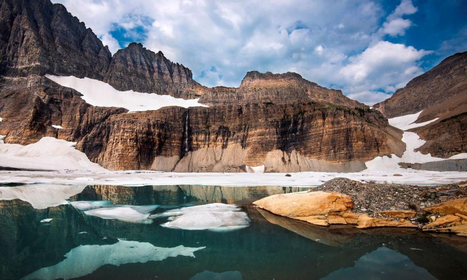 The glaciers of Glacier National Park have been in retreat for many years, peaking in the 19th century at the end of a period called the Little Ice Age. Credit: Tim Rains, NPS
