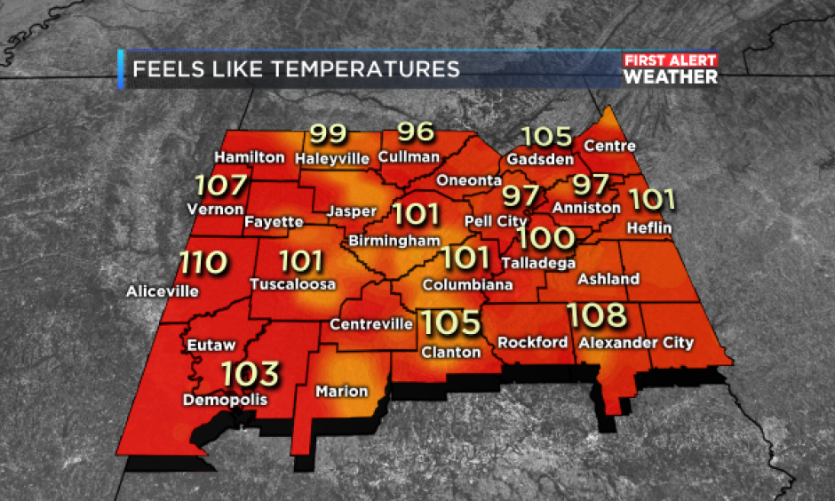 "Alabama 3:00pm ""feels like"" temperatures on June 13, 2016. Image: WBRC First Alert Weather"