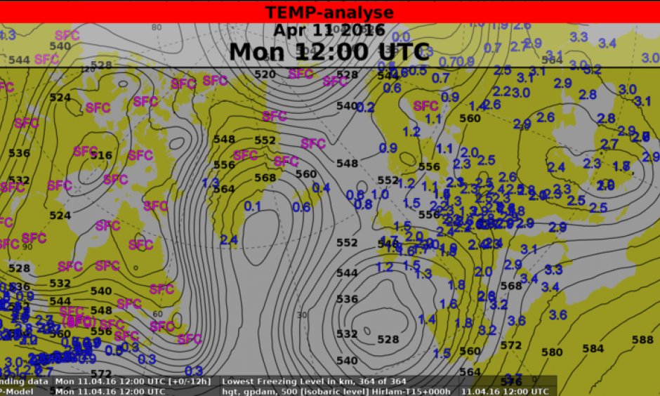 Map showing the unusual flow pattern over Greenland on Monday, 11 April 2016, 18 UTC. Lines (isohypses) connect points of equal height of the 500 hPa pressure level, a measure of the average temperature between surface and 5-6 km height. The coloured numbers give the freezing level (i.e. below which the temperature is above zero degrees; SFC means that this level is at the surface) in kilometers. Image: NWP-Model