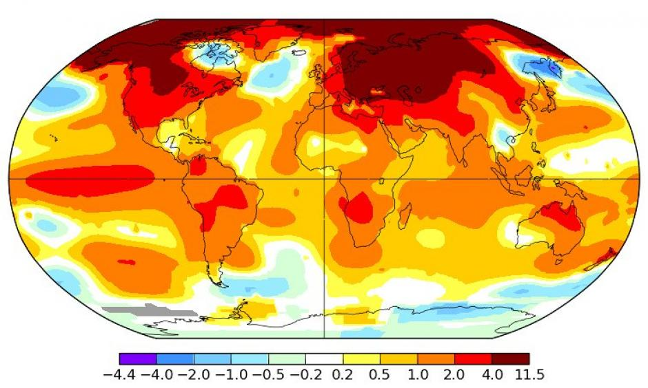 February 2016 global surface temperature anomalies. Image: NASA GISS