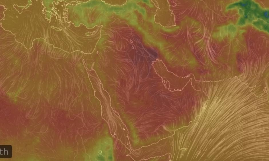 Temperatures across the Middle East in the midst of a heat wave on July 21, 2016. Click image to enlarge. Image: earth.nullschool.net