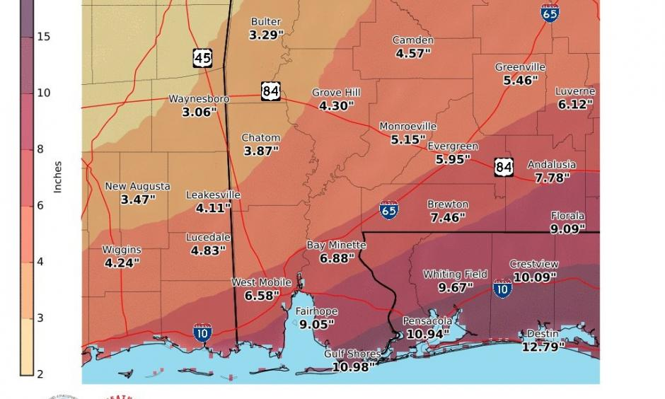National Weather Service Mobile Alabama, August 6, 2016 Tuesday through Saturday storm rain total. Image: NWS