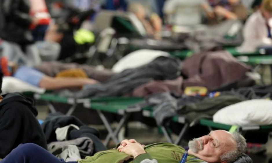 Evacuees rest at a shelter for residents of cities surrounding the Oroville Dam. Marcio Jose Sanchez, AP