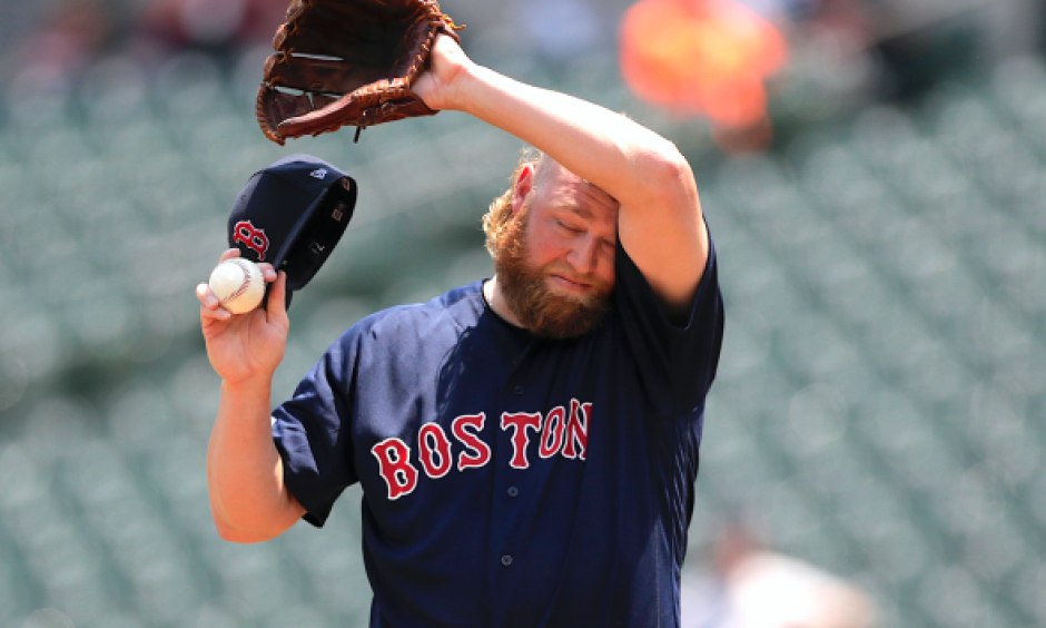 "Boston Red Sox starting pitcher Andrew Cashner wipes sweat off his forehead on Sunday in Baltimore, where the National Weather Service says there is an ""oppressive and dangerous"" heat wave. Credit: Julio Cortez, AP"