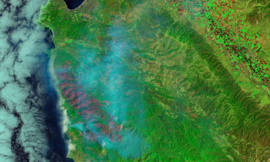 Smoke from the Soberanes Fires wafts eastward from the wildfire's 43,400 burn scar in a photo from NASA's Landsat 8 satellite. The fire was only 18 percent contained as of Tuesday. Photo: NASA