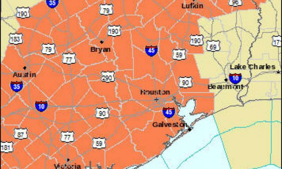For the third consecutive day, a Heart Advisory has been issued between 1 p.m. and 7 p.m. Wednesday for the Houston area and much of southeast Texas as the mercury climbs to nearly 100 degrees. Image: National Weather Service