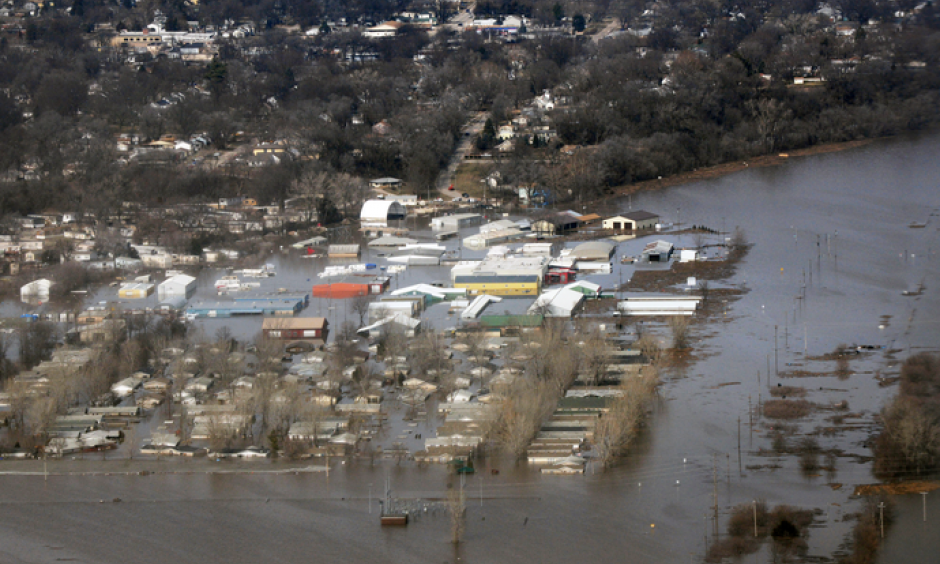Areas surrounding Offutt Air Force Base, Neb., stand affected by flood waters March 17, 2019. Credit: Tech. Sgt. Rachelle Blake U.S. Air Force