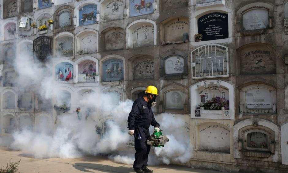 A health worker fumigates a cemetery to prevent Zika virus in Lima, Peru. Photo: Martin Mejia, AP