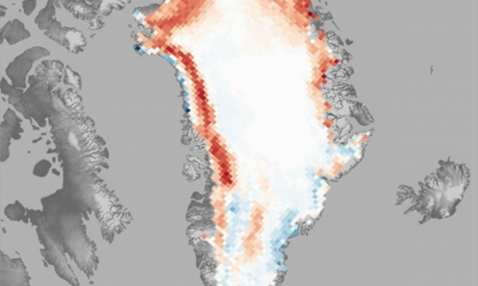 Melt days in June-August 2015 compared to the 1981–2010 average. Image: NOAA
