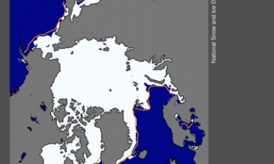 Arctic sea ice extent for February 25, 2015 was 14.54 million square kilometers (5.61 million square miles). The orange line shows the 1981 to 2010 median extent for that day. The black cross indicates the geographic North Pole. Sea Ice Index data. Credit: National Snow and Ice Data Center High-resolution image