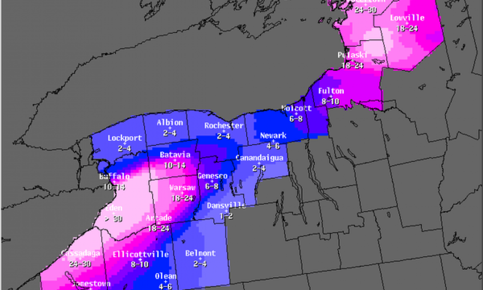 Storm snowfall total forecast in inches, Wednesday November 19. Image: National Weather Service