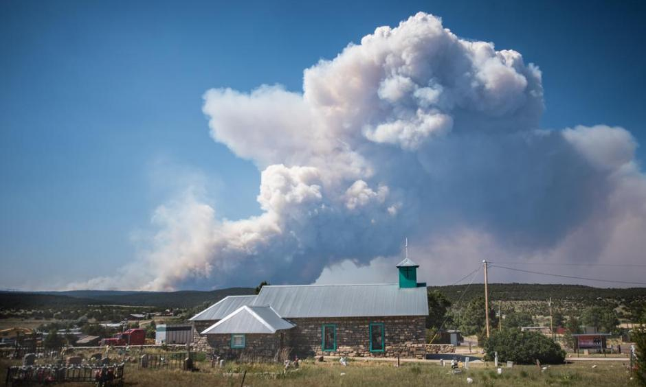 The Dog Head wildfire burns as seen from the town of Tajique, near the Manzano Mountains on Wednesday, June 15, 2016, in Tajique, N.M. Photo: Roberto E. Rosales / The Albuquerque Journal