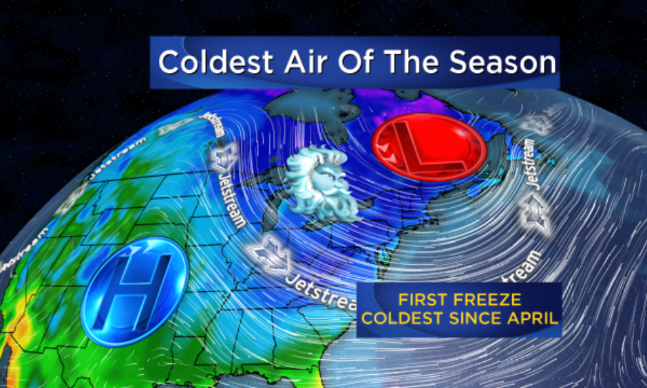 Coldest air of the season. Image: CBS