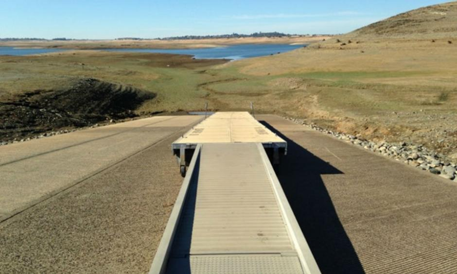 The boat ramp at Folsom Lake on November 12, 2015. The lake set a new record low of 140,523 acre-feet in November 2015. The previous record was 140,600 acre-feet in November 1977. Photo: Bob Moffitt, Capital Public Radio