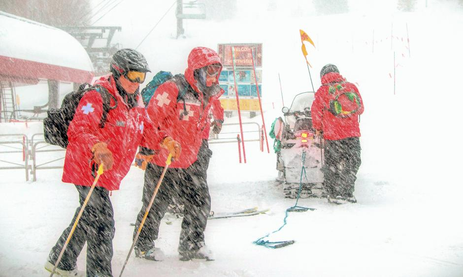 Members of the ski patrol at Northstar Ski Resort in Truckee, Calif. The snow, beyond reinvigorating the ski industry, is providing a glimmer of hope that California's devastating drought might be coming to an end. Photo: AP
