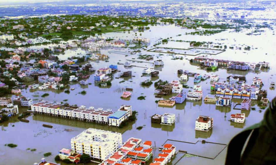 An aerial view of flood affected areas of Kanchipuram District on the outskirt of Chennai on Monday. (PTI Photo)