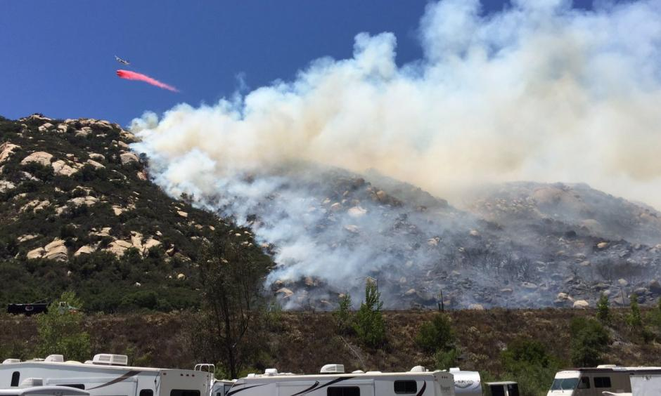 Cal Fire San Diego is dropping retardant in front of the fire which is about 30 acres at this point. Photo: Twitter, @SanDiegoNCN