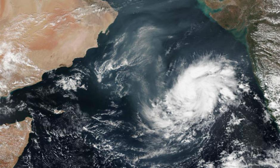VIIRS image of Megh in its formative stages over the Arabian Sea on November 4, 2015. Image credit: NOAA.