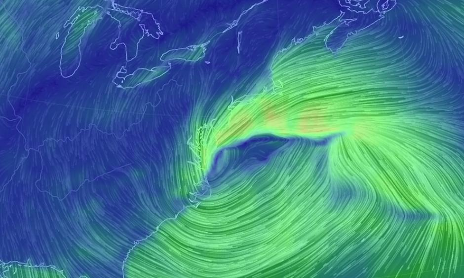 Simulated winds from the storm, based solely on GFS model projections. Image: Earth Simulator