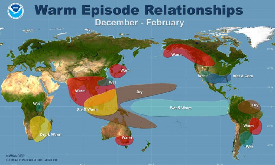 he typical shifts from normal climatic condition during the Northern Hemisphere winter (December - February) during El Niño episode. Image: NOAA