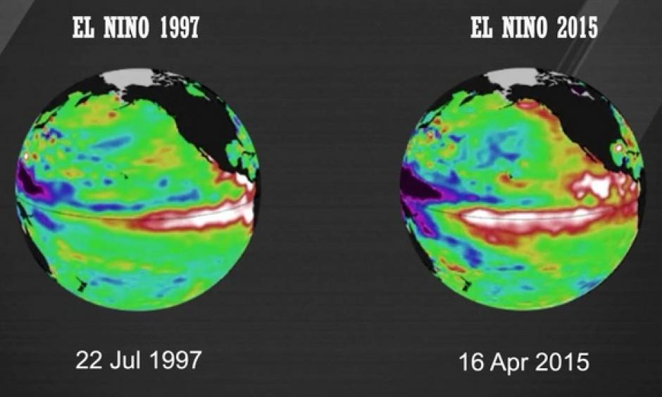 A comparison of sea surface temperatures in the equatorial Pacific in 1997 (a strong El Nino year) and 2015. Image: World Meteorological Organization