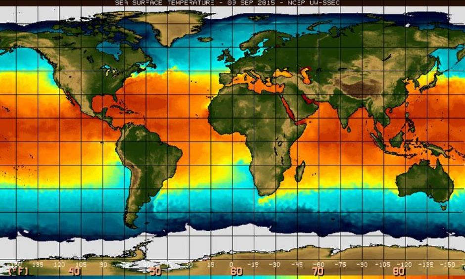 Sea surface temperature in the equatorial Pacific Ocean. Photo: NOAA