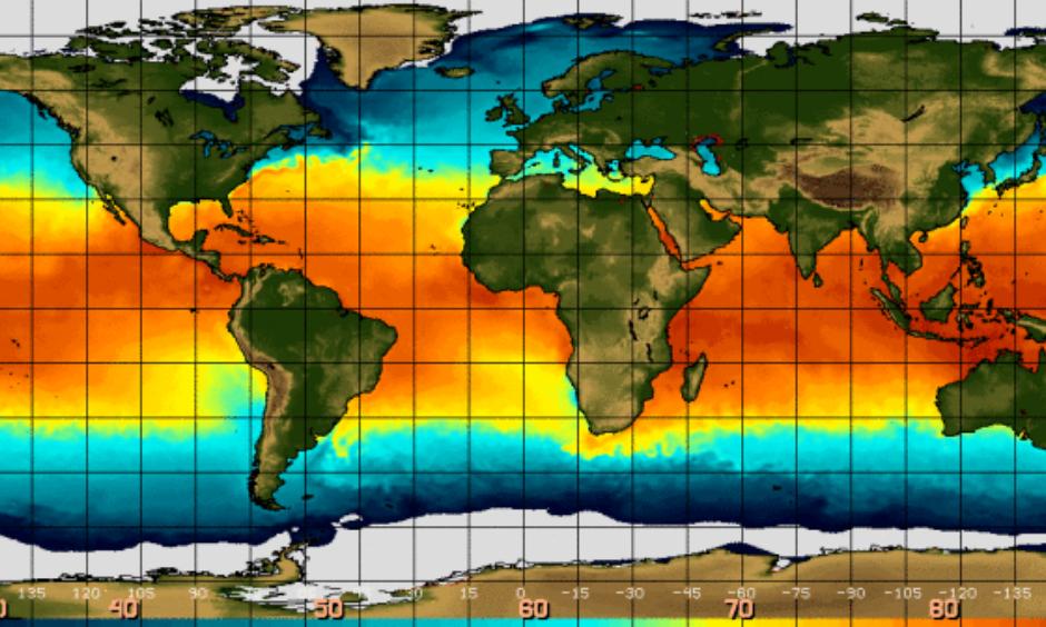 Sea surface temperature in the equatorial Pacific Ocean are unusually warm, due to El Nino. Image: NOAA