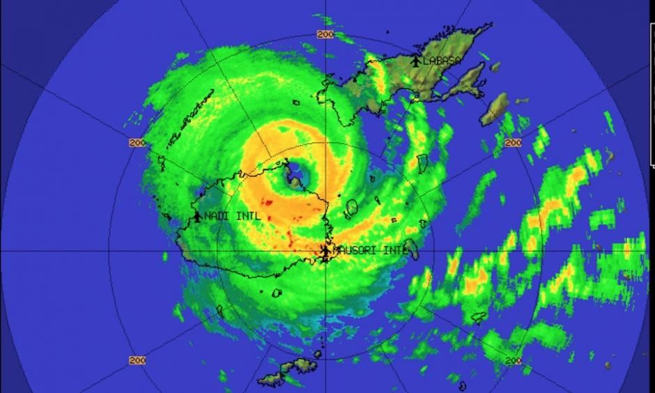 Radar image of Tropical Cyclone Winston at time of landfall. Image: Fiji Weather Service
