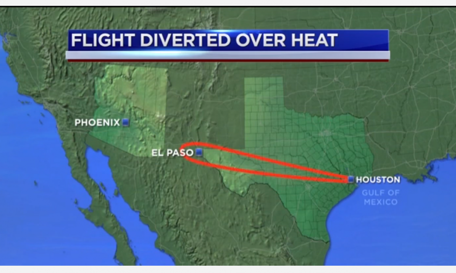Mesa airlines flight to Phoenix returned to Houston Sunday night over concerns regarding the temperature at Sky Harbor International Airport. Image: abc13