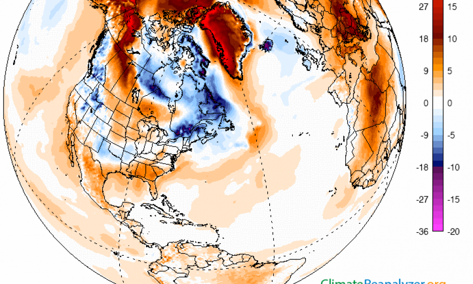 Temperature difference from normal shows parts of the Arctic over 17 degrees warmer than normal on Feb. 23, 2016. Image: University of Maine Climate Analyzer
