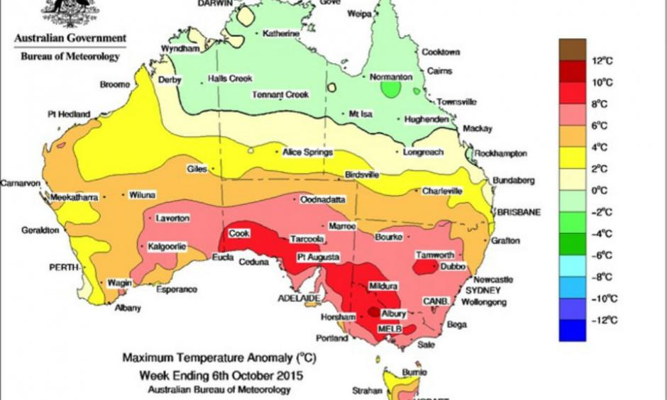 The very hot spell that hit Australia in early October. Note parts of south east Australia experienced temperatures 8-10C above average. Australian Bureau of Meteorology