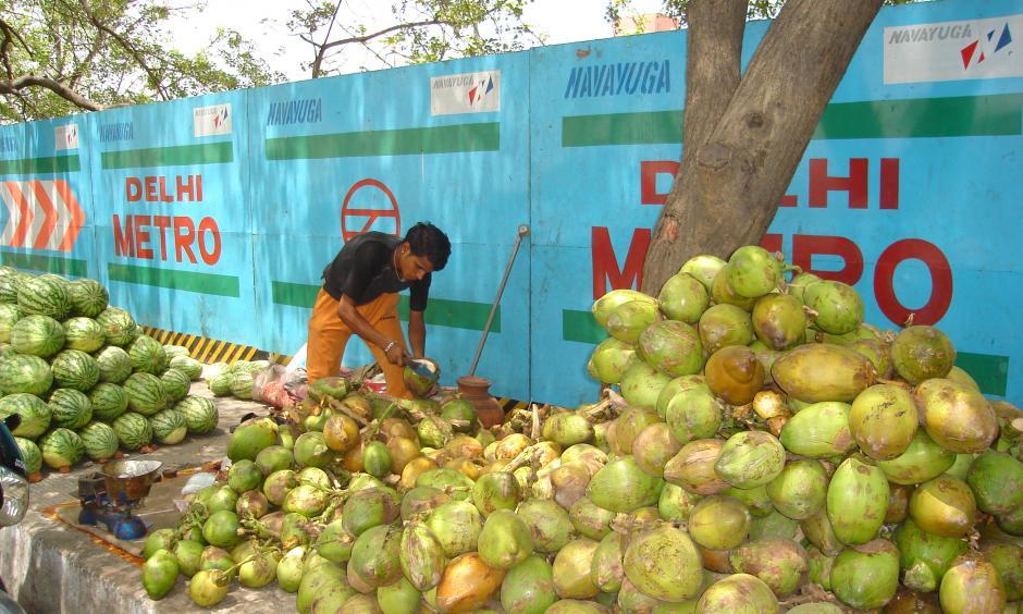 Green Coconut Vendor in India in Summer. Photo: ankurjain