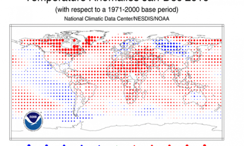 Global surface temperature anomalies for 2010.  (Credit: NOAA)