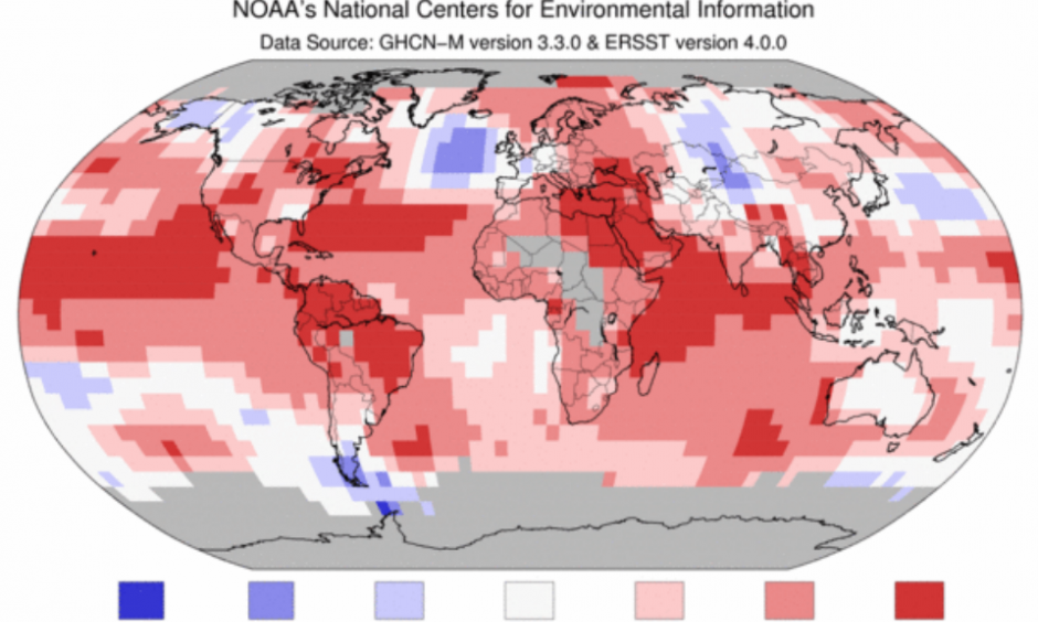 Departure of temperature from average for September 2015, the warmest September for the globe since record keeping began in 1880. Image: NOAA